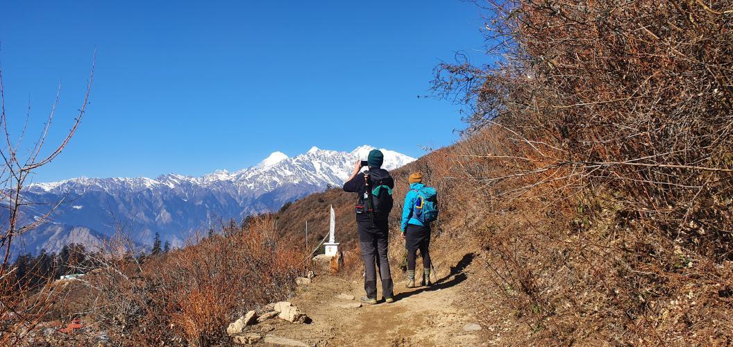 trekkers enjoying view in langtang trek, Trekking Team Group